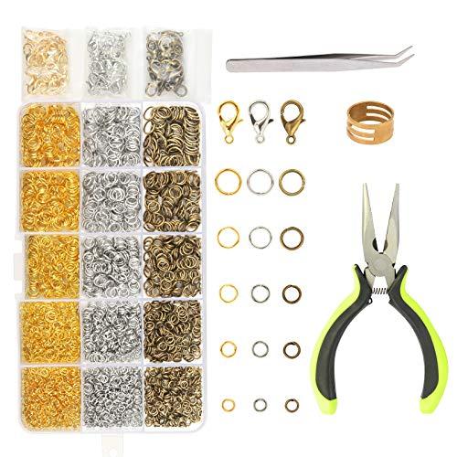 ZoomSky 2314tlg DIY Schmuckherstellung Zubehör Set,Öffnen Sprung Ringe mit Karabinerverschluss Schmuckzange für Schmuck Basteln Reparatur Herstellung in 5 Größe und 3 Farben (2314tlg Sprung Ringe)