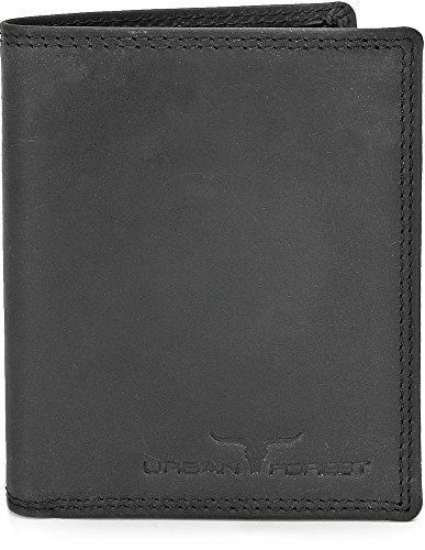 Leder Geldbörse Portemonnaie Lederbörse Brieftasche Geldbeutel Hochformat aus Echtem Leder in Farben Schwarz Braun Cognac von URBAN FOREST, Farbe:Schwarz
