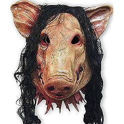 Masque tête de cochon unisexe avec cheveux En latex