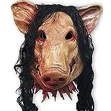 Unisexe Pig Masque de tête avec cheveux Animal Saw Masque Masquerade Prop Latex fête d'Halloween de Noël