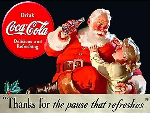 Père Noël Coca Cola en métal Panneau mural publicitaire rétro Art
