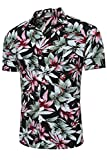 Jumojufol Los Hombres Tropcial Causal Flor Imprimir Botón Abajo Camisa Hawaiana De Playa Black L