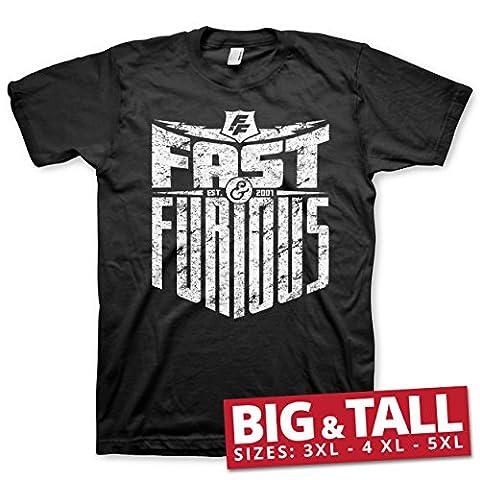 Officiellement Sous Licence Fast & Furious - Est. 2007 3XL,4XL,5XL Hommes T-Shirt (Noir), 4X-Large