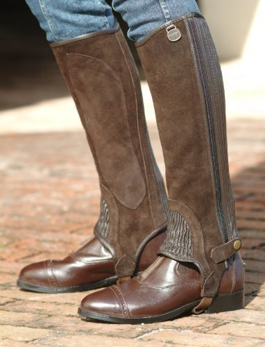 Ovation Ladies Suede Stretch RIBB Half Chaps with Zipper-Color: black Size: XSMA by Ovation Ovation Womens Half Chap