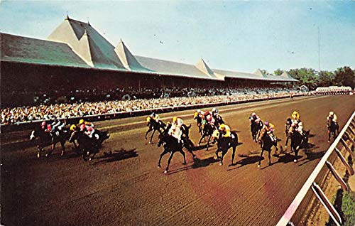 Saratoga, NY, USA Saratoga Race Track Horse Racing Postcard 1966 Missing Stamp - Saratoga Track