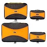PRO Packing Cubes | Packwürfel im 4-teiligen Sparset | Taschen mit 30% Platzeinsparung | Ultraleichte Gepäckverstauer | Ideal für Seesäcke, Handgepäck und Rucksäcke (Orange)