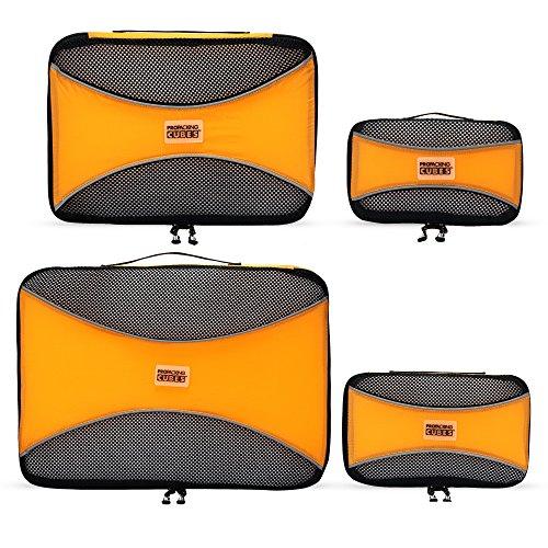 PRO Packing Cubes | Packwürfel im 4-teiligen Sparset | Taschen mit 30 % Platzeinsparung | Ultraleichte Gepäckverstauer | Ideal für Seesäcke, Handgepäck und Rucksäcke (Orange) (Heys Handgepäck)