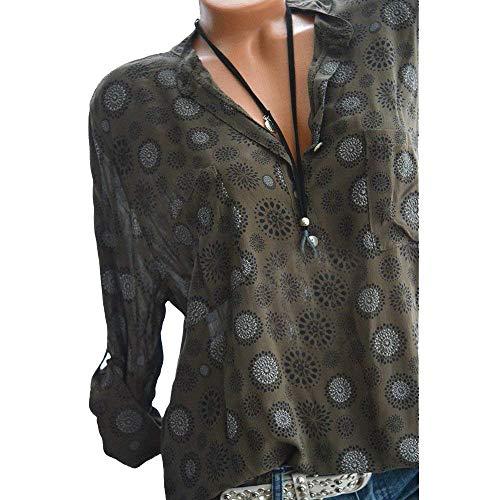 Damen T Shirt Langarm V Ausschnitt Lose Lässige Perfect Wellenpunkt Tops Bluse Oberteil Sweatshirt Vorne Mit Knopf Style (Color : Dunkelbraun, Size : 4XL)