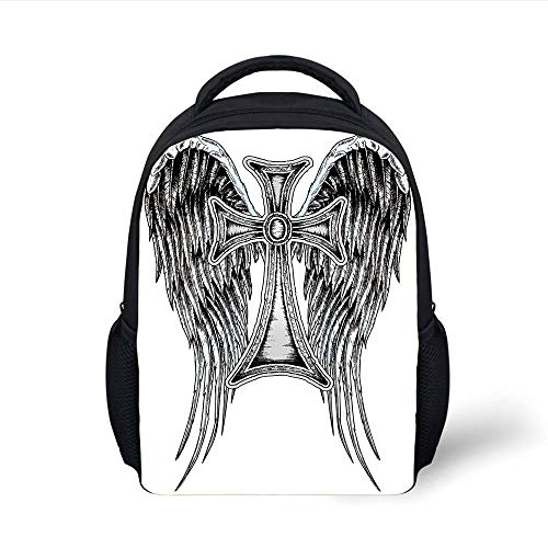 Kids School Backpack Gothic Decor,Heraldic Wing and Cross Belief Ancient Symbol of Power Royalty Artistic Design, Plain Bookbag Travel Daypack