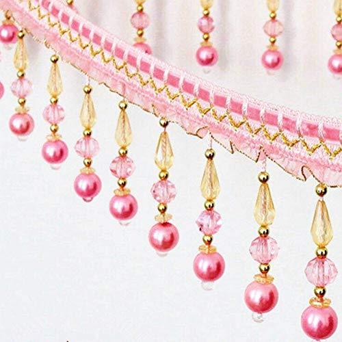 Cinta de encaje trenzada con flecos de borla para cortinas de mesa, para costura decorada rosa