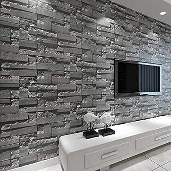 baporee Brique empil/ée 3D Papier Peint en Pierre Rev/êtement Mural Moderne Papier Peint en Rouleau de PVC Brique Mur Fond d/écran Gris pour Salon 5.3㎡ Gris