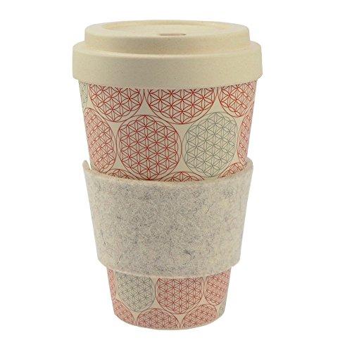 ebos Coffee-to-Go-Becher aus Bambus | incl. Schraubdeckel, Griffring aus 100% Wollfilz | Kaffee-Becher, Trink-Becher | ökologisch abbaubar, umweltfreundlich | lebensmittelecht | verschiedene Designs verfügbar (Blume des Lebens) (Blumen Bambus)
