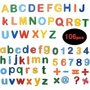 ZITFRI 106 Pcs Lettres Chiffres Magnetique Enfant - Lettres Aimantées Numéros Magnétiques Magnet Alphabet Majuscules et Minuscules Jouets éducatifs pour Petits Apprentissage Orthographe Comptage