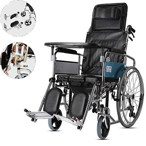 Sedia a rotelle professionale, leggera, facile da usare, resistente e regolabile in altezza Sedia da trasporto,poggiaginocchia rialzata, posizionamento delle ruote,sedia da viaggio portatile,Black