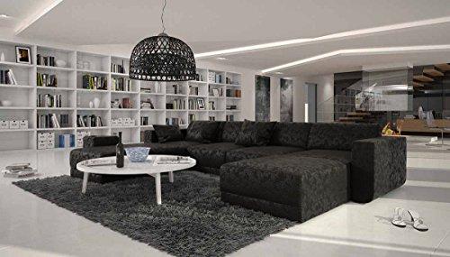 XXL Wohn-Landschaft mit Microfaser Bezug 340x220 cm U-Form schwarz | Maferra-U | Designer Eck-Sofa mit Recamiere links | Couch-Garnitur für Wohnzimmer schwarz 340cm x 220cm