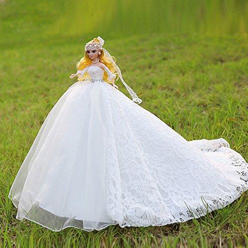 zantec mit eleganten Trägerlos Prinzessin Kleid Hochzeit Puppe Spielzeug Puppe Innendekoration Artikel Barbie Puppe White Gold 2 (Blonde Disney Prinzessinnen)