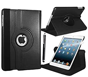 STYLEYOURMOBILE {TM} APPLE IPAD MINI PREMIUM QUALITY VARIOUS PU LEATHER MAGNETIC FLIP FOLIO STANDBY SKIN CASE COVER + SCREEN PROTECTOR + STYLUS (Black)