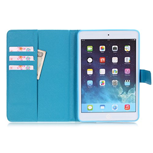 Ipad Mini Wallet Cover, Ipad Mini Flip Leather Case Back Cover,Ukayfe Stand Function PU Leather Case Premium Soft Slim Cover Bookstyle with Magnet Closure for Apple Ipad Mini /Ipad Mini 2 /Ipad Mini 3 Torta del fumetto