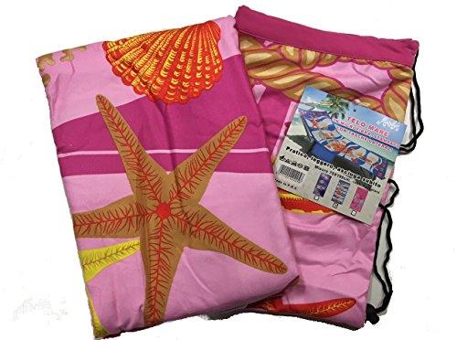 Coprilettino telo mare lettino sdraio con tasche e borsetta in microfibra marilyn fantasia spiaggia (stella rosa 2)