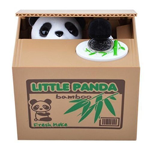 Treasure-House Stealing Coin Money Box Automatic Stealing Coin Cent Penny Cat Piggy Bank With Voice Christmas/Birthday Gift for Kids Child (Panda)