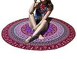 Yidarton Indien Ronde Tapisserie Mandala Hippie Serviette de Plage Bohème Tapis de Yoga, Couverture de Plage (Rouge)