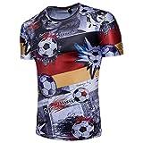 IGEMY Herren T-Shirt für WM, 3D Fußball Print Kurzarm T-Shirt Sommer Bluse, M-2XL