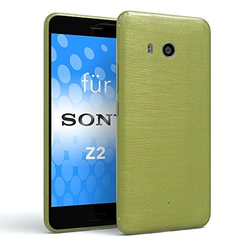 EAZY CASE Sony Xperia Z2 Schutzhülle Silikon, gebürstet, Slimcover in Edelstahl Optik, Handyhülle, TPU/Soft Case, Backcover, Slikonhülle Brushed, Grün