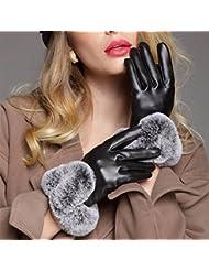 Los guantes calientes guantes y cómoda Guantes de cuero de la pantalla táctil mujeres otoño y del invierno de imitación de conejo Rex caliente, además de terciopelo engrosamiento de Estudiantes de conducción de ciclo ( Color : Negro )