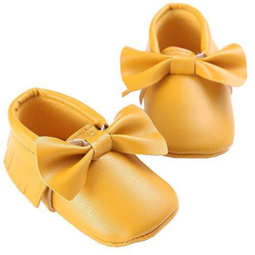 WAYLONGPLUS , Baby Mädchen Lauflernschuhe Rot dunkelrot 13 (12-18 Months) Dark Yellow