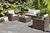 Allibert by Keter California 2 Seater Rattan Sofa Outdoor Garden Furniture - Cappuccino with Sand Cushions