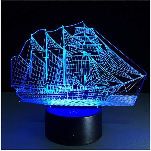 Nachtlicht Nachttischlampe 3D Retro Alte Segeln Meer Boot Schiff Led Lampe 7 Farben Illusion Nachtlicht Usb Tisch Schreibtisch Dekor Beleuchtung - Meer-lampe