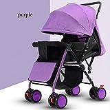 QXMEI Kinderwagen Licht Gesetzt Liegestuhl Licht Tragbare Klappkinderwagen Vier Rad Bambus Kinderwagen,Purple