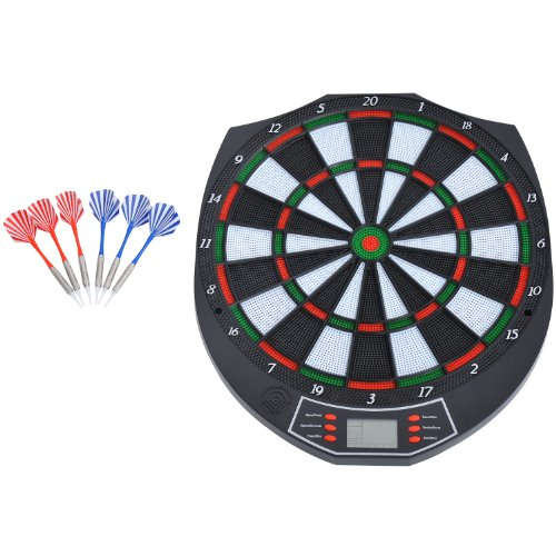 Homcom Dartscheibe, elektronisch mit LED-Punkteanzeige und Soft-Tip-Dart-Spitzen, mit 18 Spielen und Ton
