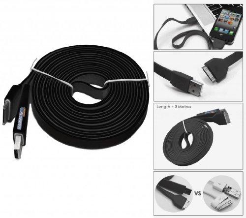 mammoth-xt-3m-cable-plano-de-carga-y-sincronizacion-30-pin-a-usb-cable-de-datos-para-apple-iphone-3-