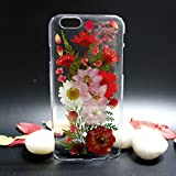 Real Flower Case for iPhone 7 Plus Transparent Soft TPU Phone Case iPhone 7 Plus Handmade Pressed Floral Phone Case for Girls