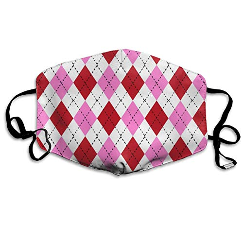 Argyle Valentine's Day, Valentine's Day Argyle, Girls Preppy, Preppy Argyle, Bubblegum and Cherry Dust Mask Anti Dust Pollution Mask Washable Polyester Mouth Mask with Adjustable Straps