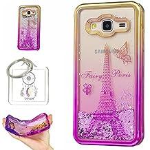 Hülle Galaxy J3 2016 (5,0 Zoll) Hülle Transparent Hardcase,3D Galvanotechnik TPU Kreative Liquid Bling Hülle Case Für Samsung Galaxy J3 (2016) J320 (5,0 Zoll),Dynamisch Treibsand Flüssige Fließend Wasser Glitter Sparkle Klar Hart Plastik Tasche Kristall Handytasche Rückseite Hülle Schale Etui Für Samsung Galaxy J3 J310 / J3 (2016) J320 (5,0 Zoll) + Schlüsselanhänger (R)
