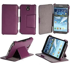 Etui Samsung Galaxy Note 3 N9000 N9002 N9005 (Wifi / LTE / 4G) violet 32/64 GB Ultra Slim Cuir Style avec stand - Housse flip cover coque de protection smartphone Galaxy Note 3 GT-N9000/N9002/N9005 violet - Prix découverte accessoires pochette XEPTIO : Exceptional case !