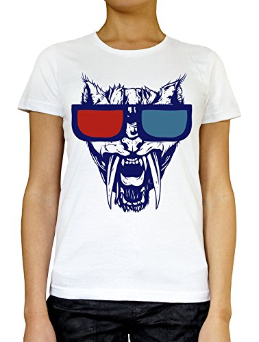 LukeTee Angry Cat Wit Red and Blue Sunglasses Women's T-Shirt Large