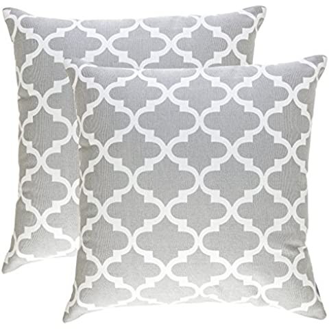 Tree wool, Trellis (2 Pack) Design cotone decorativo cuscino-Kissenbezug, Cotone, grigio-argento, 45 x 45