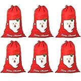 Robelli 6 Confezione di Grande Feltro Rosso di Natale Sacchi - Buon Natale ( Babbo Faccia)