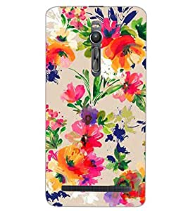 PrintDhaba PAINT LEAF D-6851 Back Case Cover for ASUS ZENFONE 2 (Multi-Coloured)