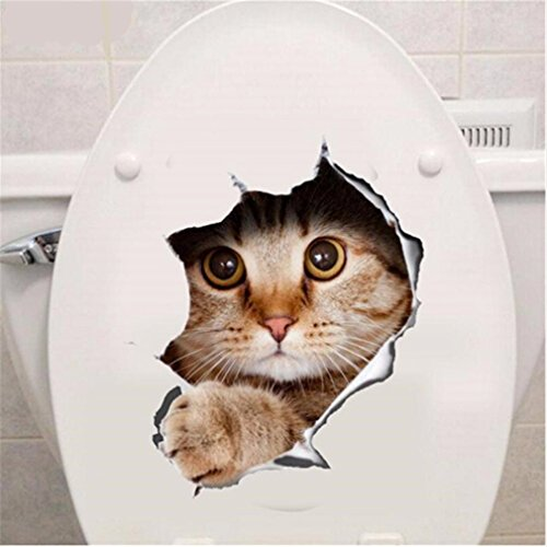 VWH Toilet Stickers Waterproof Wall Art Decal Removable DIY Bathroom Decor (cat)