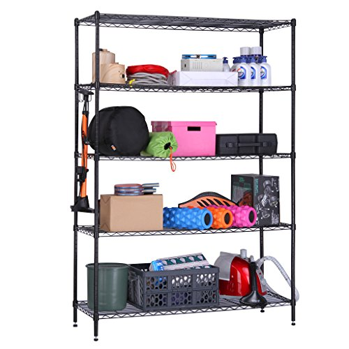 LANGRIA 5 Tier Heavy Duty Extra Large Storage Organization Rack and Shelving Unit for Garage Kitchen, 441 lbs, Black