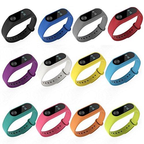 Xiaomi Mi Band 2, SOPEAR Bande De Montre Pour Mi Band 2 Silicone Bande De Montre Bracelet De Montre Pour Xiaomi Mi Band 2 Smart Bracelet(12PCS/Pas De Tracker)