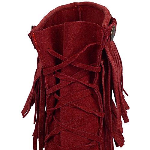 Bottines De Bottes Mode BIGTREE Confortable Glands Femme Respirant Rouge Courtes Casual Lacets 5dgq6xd