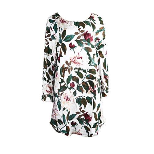 TEBAISE Damen Sommerkleid Leinen Baumwolle Blumendruck Minikleid Party Langarm Kleid Plus Größe Lose Baumwollkleid Blumendruck Taschen Kurzschluss Hülsen Midi-Langes Kleid