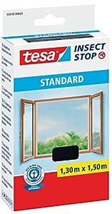 tesa Fliegengitter für Fenster, Standard Qualität, schwarz (anthrazit), durchsichtig. (1,3m:1,5m, Unsichtbar (anthrazit))