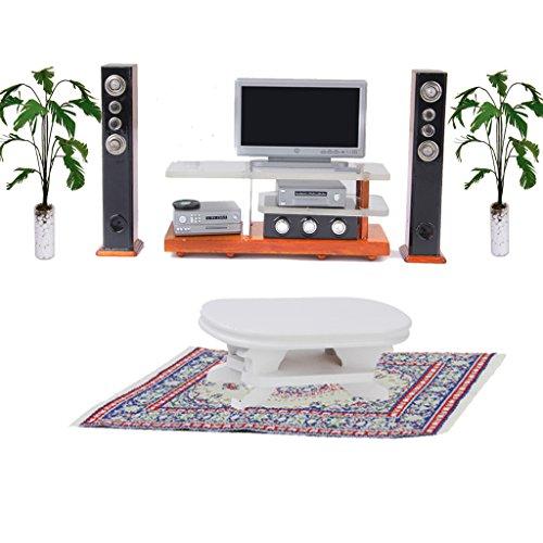 Fenteer Puppenhausmöbel Miniatur TV, DVD, Beistelltisch, Pflanze, Teppich Zubehör Set für 1:12 Puppenstube Wohnzimmer Dekoration (Tv-teppich)