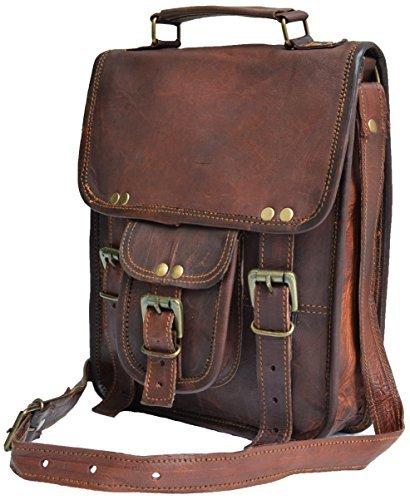 28 cm Hecha a mano Marron elegante Bolso de cuero del mensajero para portátiles cada día Bolso de hombro cartera para tablets, ipad, charger para hombres mujeres
